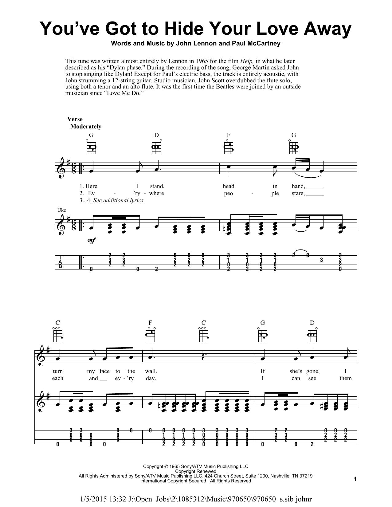 Tablature guitare You've Got To Hide Your Love Away de The Beatles - Ukulele