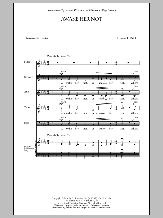 Partition chorale Awake Her Not de Dominick Diorio - SATB