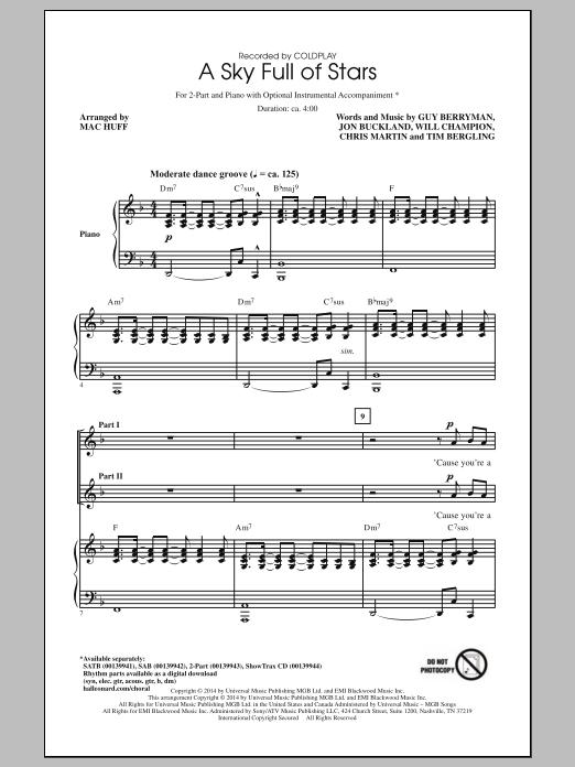 Partition chorale A Sky Full Of Stars de Chris Martin - 2 voix