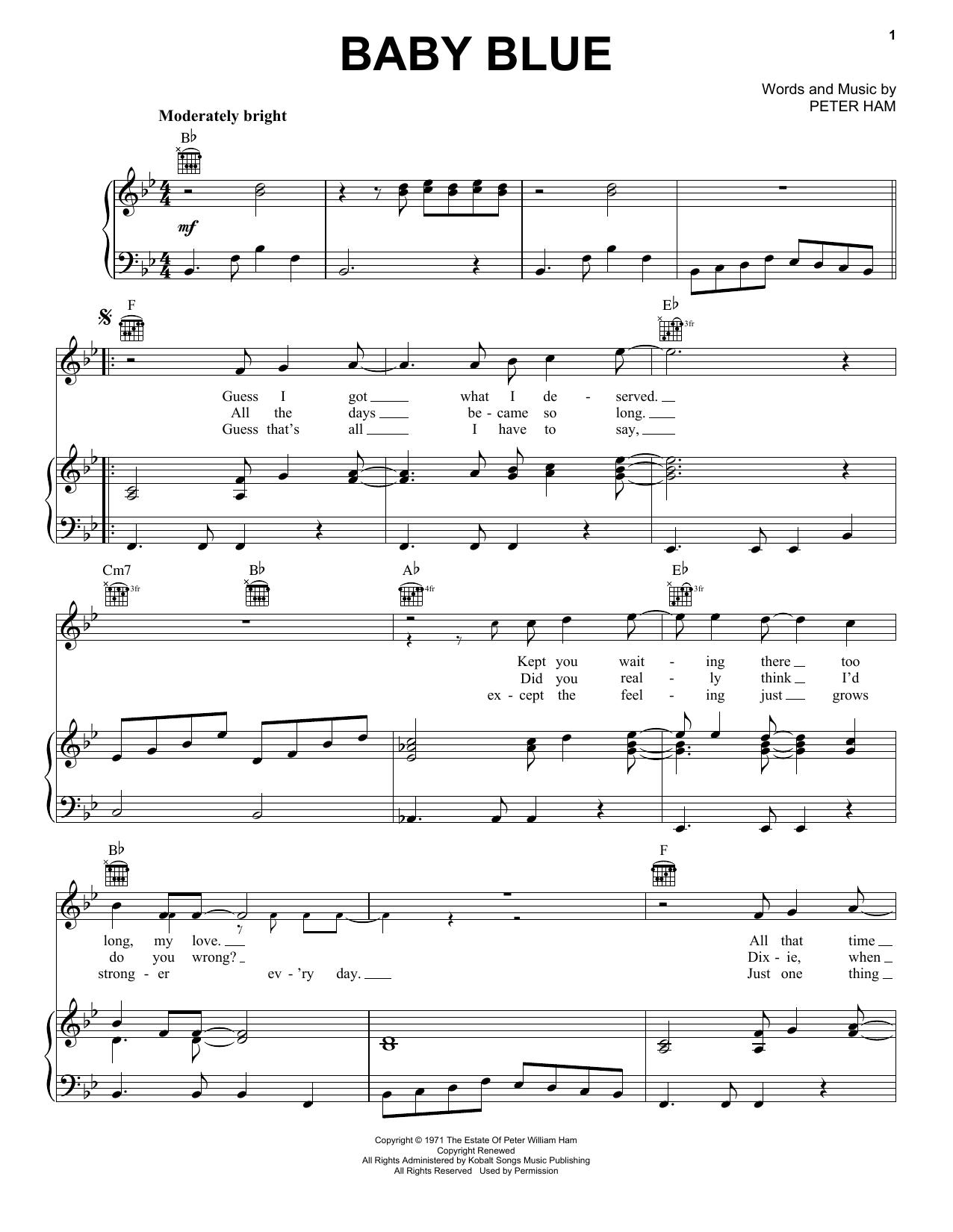 Partition piano Baby Blue de Badfinger - Piano Voix Guitare (Mélodie Main Droite)