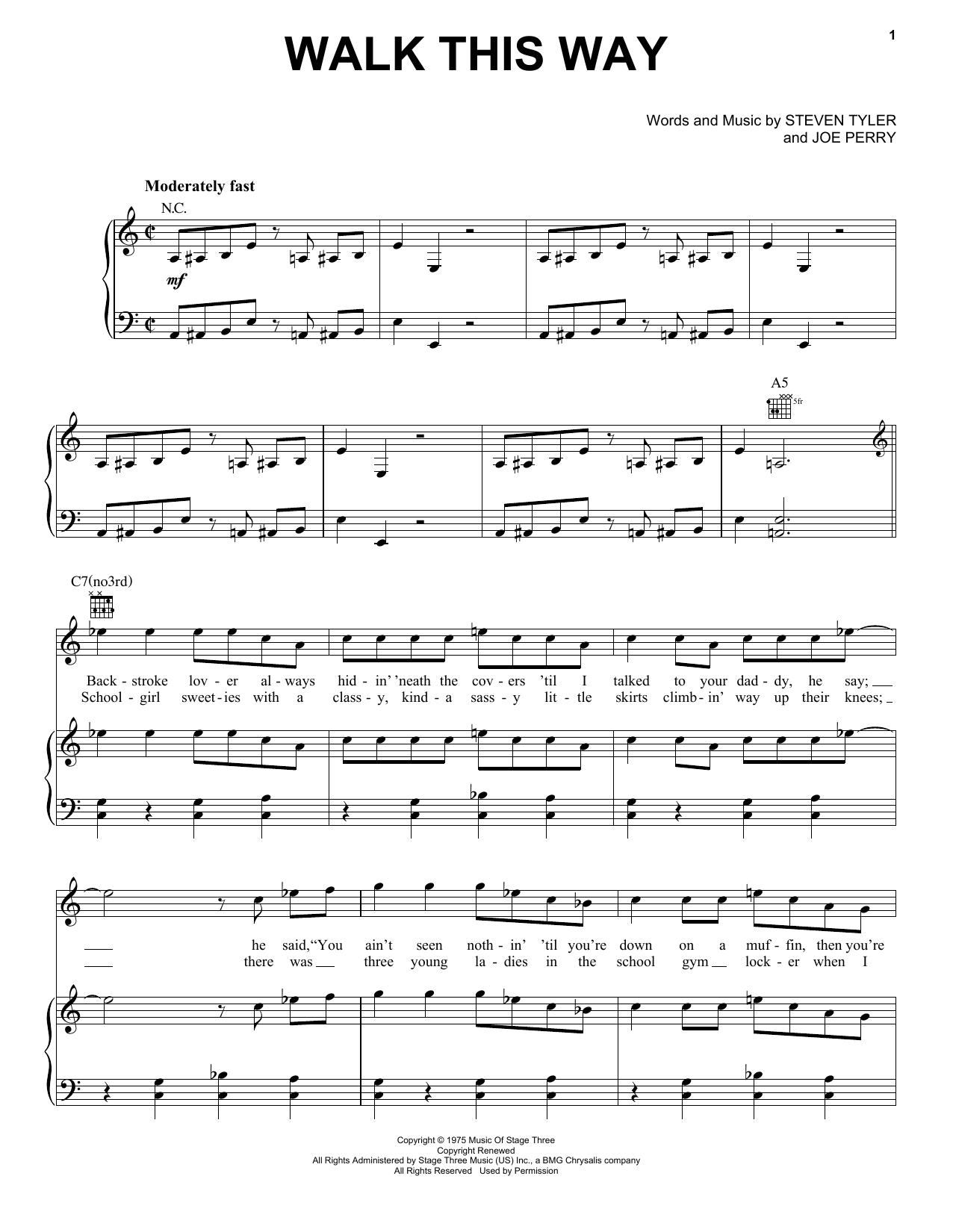 Partition piano Walk This Way de Aerosmith - Piano Voix Guitare (Mélodie Main Droite)