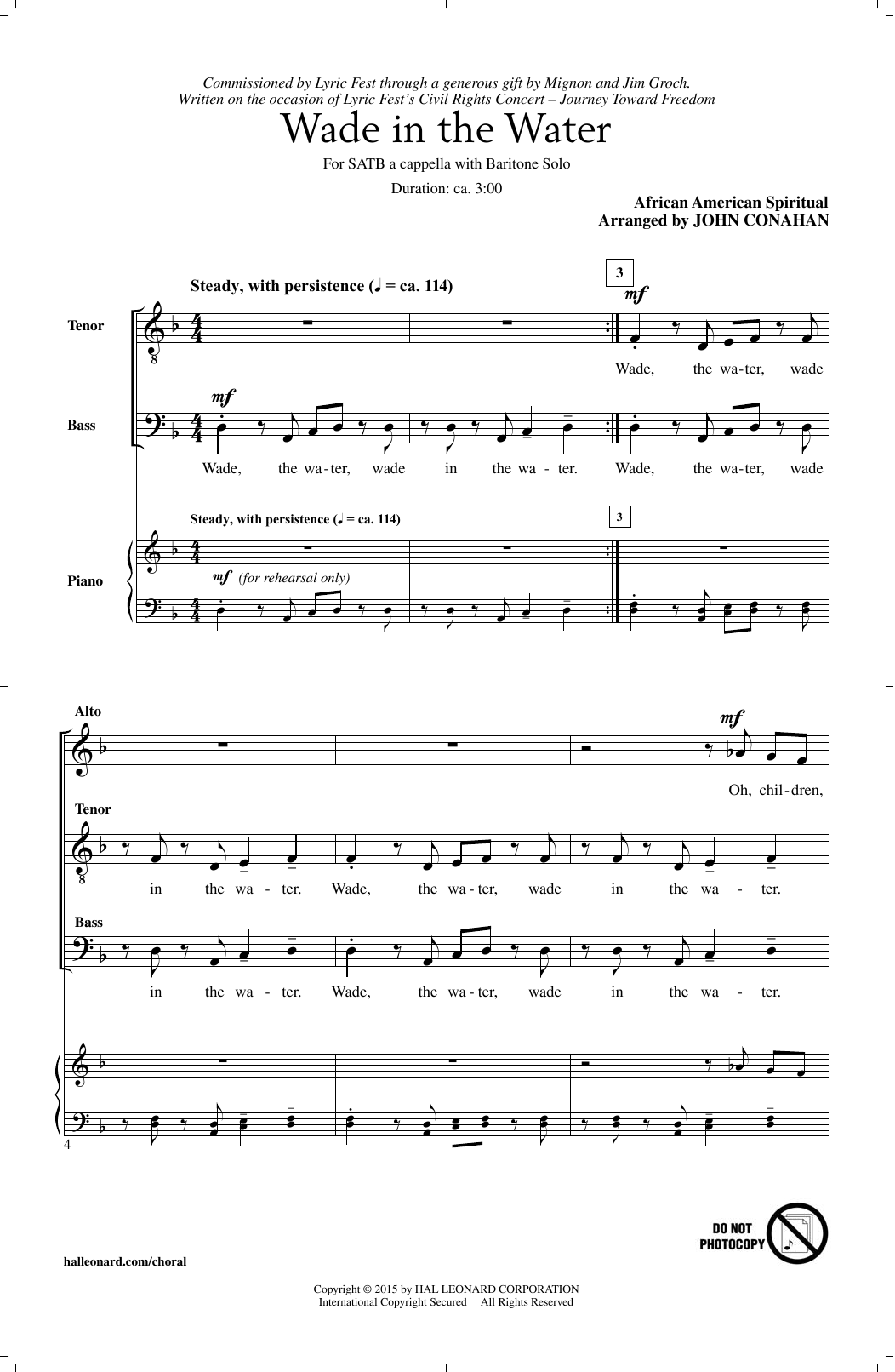 Partition chorale Wade In The Water de John Conahan - SATB