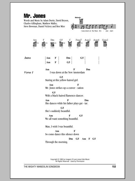 Partition piano Mr. Jones de Counting Crows - Autre