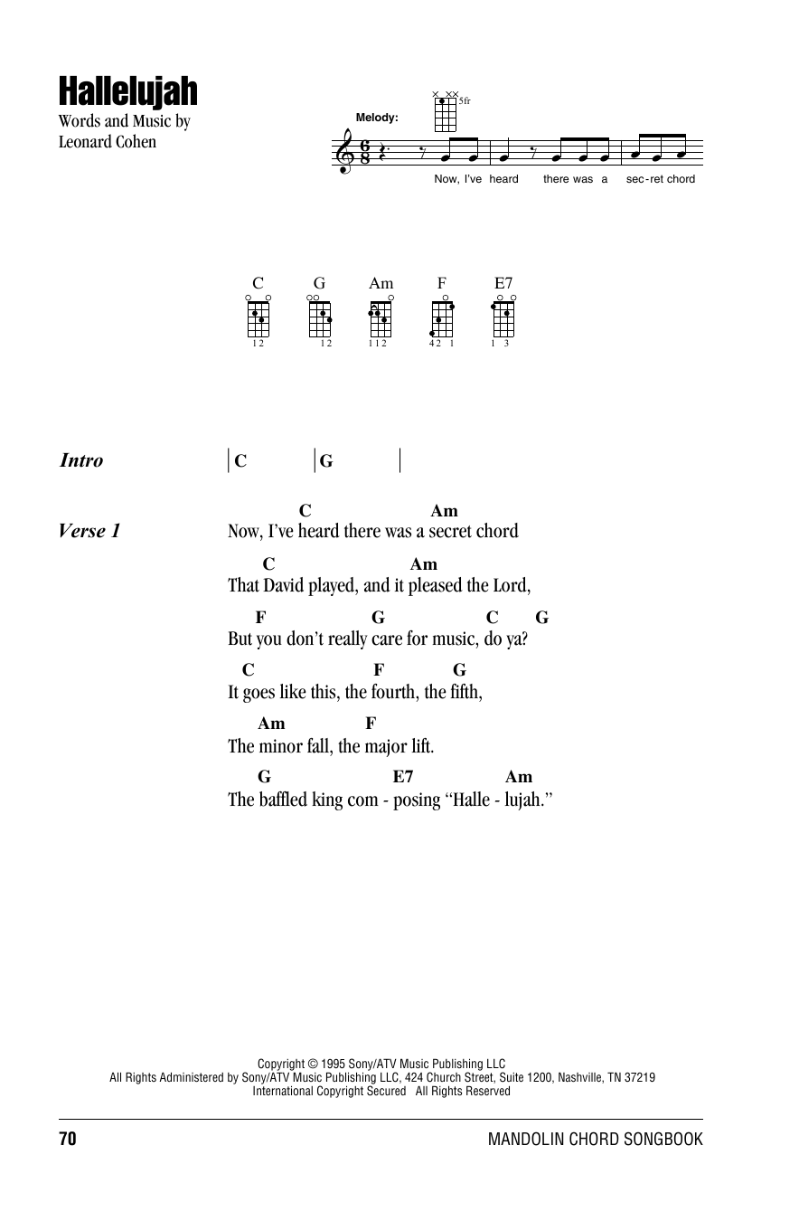 Tablature guitare Hallelujah de Leonard Cohen - Autre