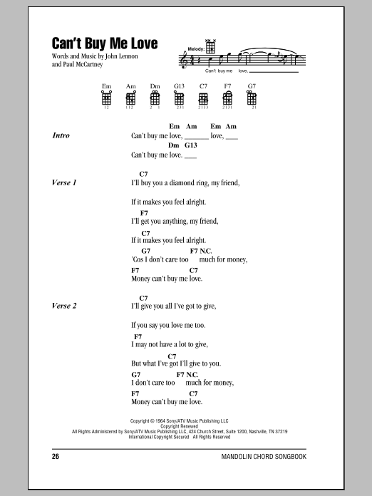 Canu0026#39;t Buy Me Love by The Beatles - Mandolin Chords/Lyrics - Guitar Instructor