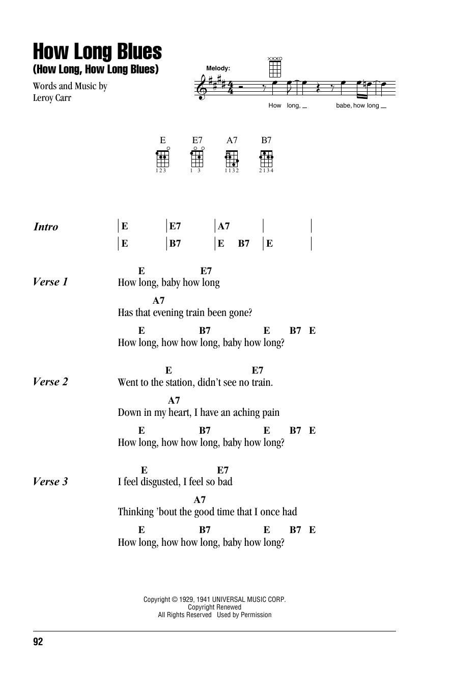 Tablature guitare How Long Blues (How Long, How Long Blues) de Leroy Carr - Autre