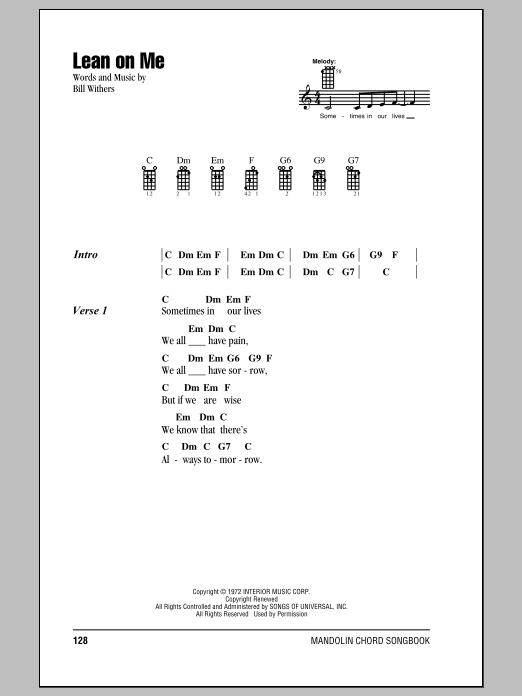 Partition piano Lean On Me de Bill Withers - Autre