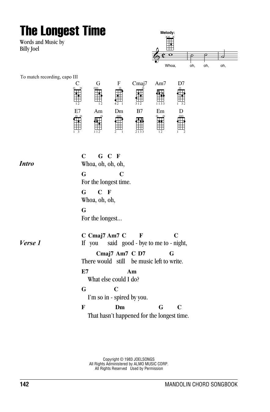 Tablature guitare The Longest Time de Billy Joel - Autre