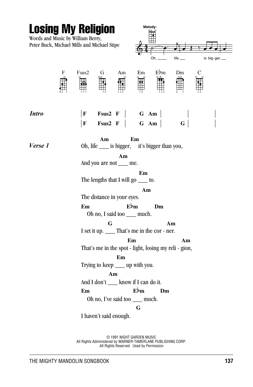 Tablature guitare Losing My Religion de R.E.M. - Autre