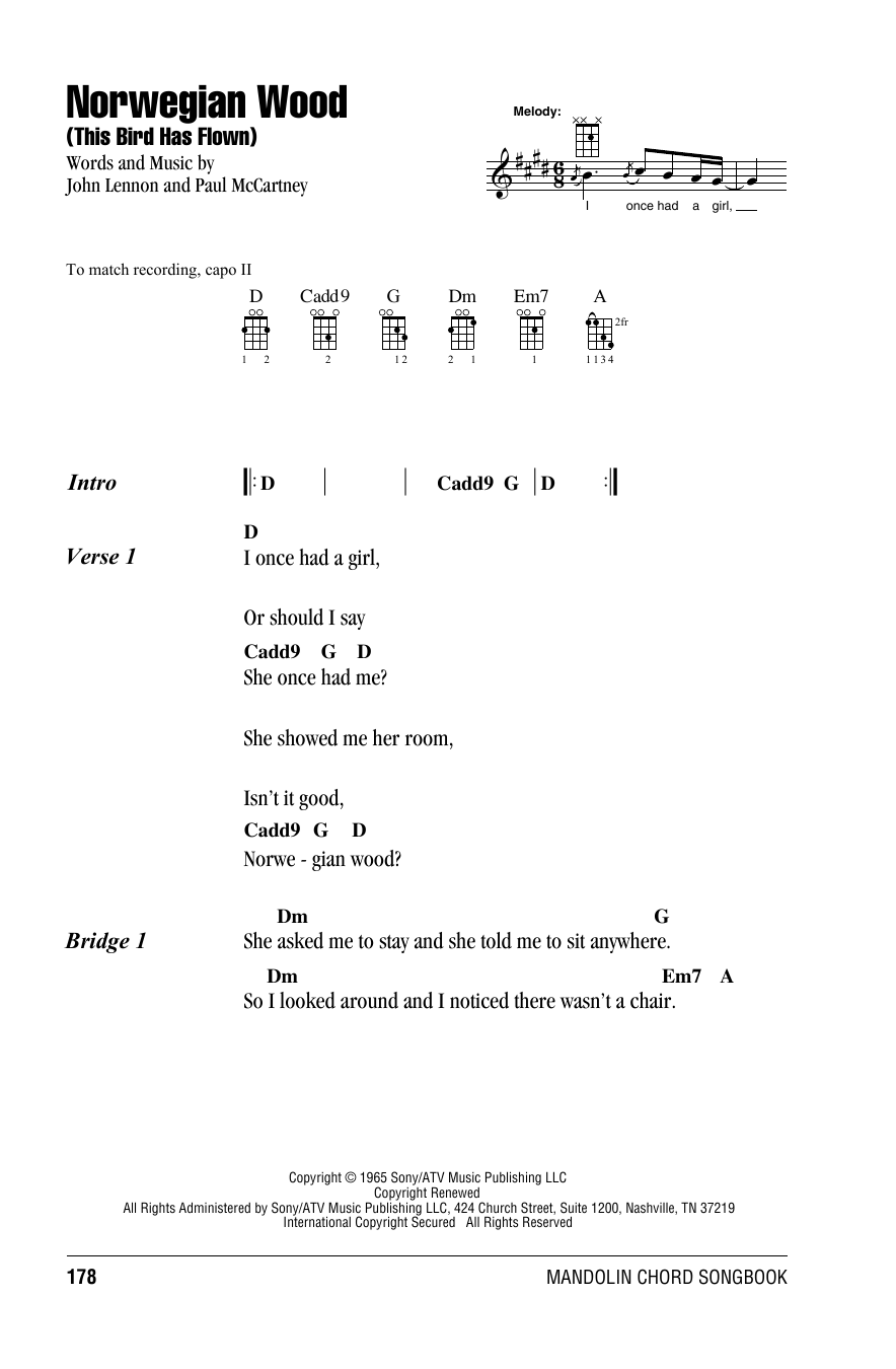 Tablature guitare Norwegian Wood (This Bird Has Flown) de The Beatles - Autre