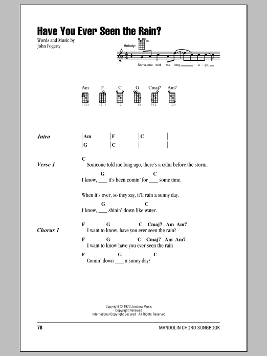Sheet Music Digital Files To Print - Licensed John Fogerty Digital ...