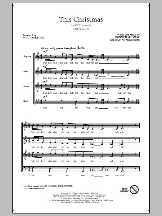 Partition chorale This Christmas (arr. Paul Langford) de Donny Hathaway - SATB