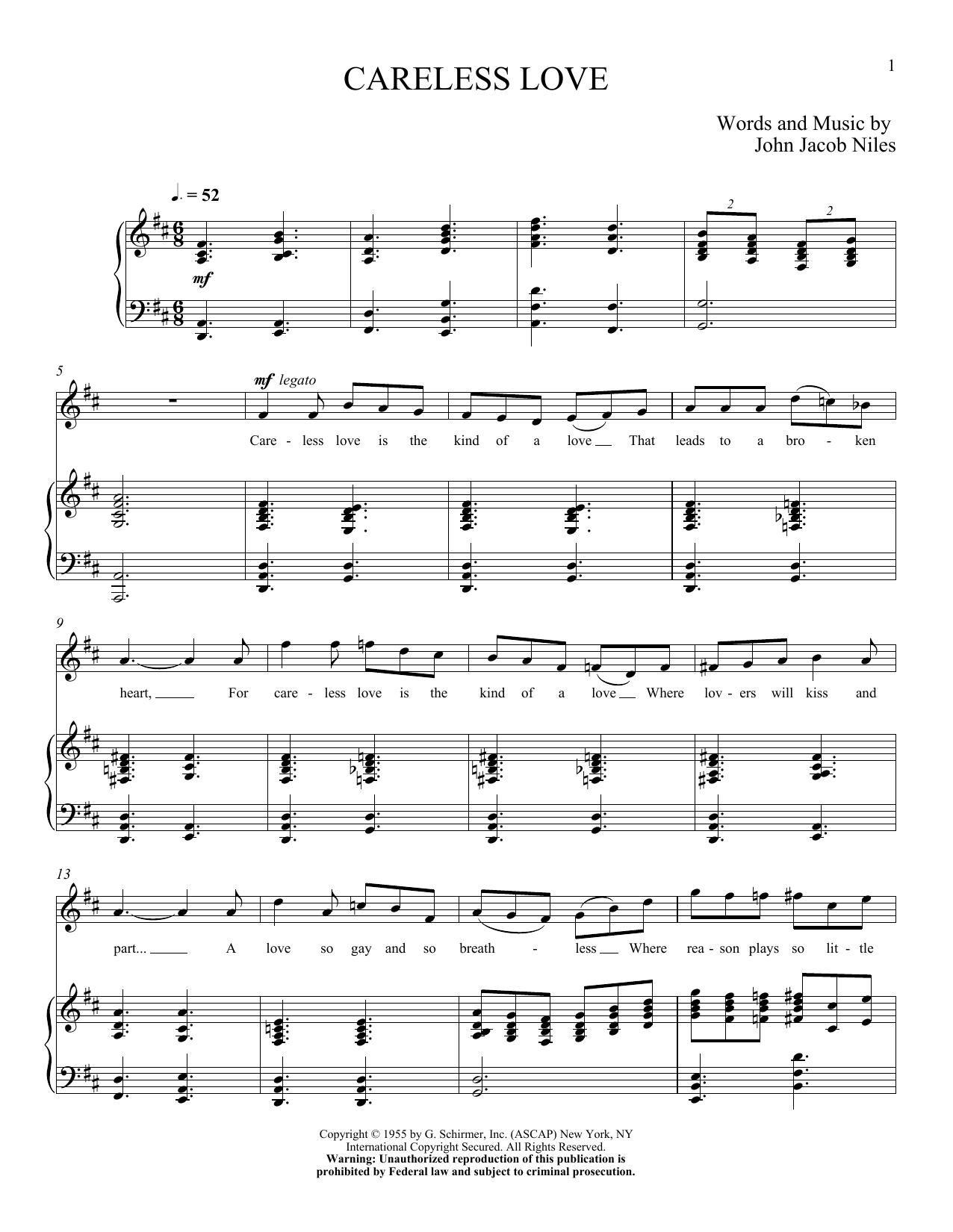 Partition piano Careless Love de John Jacob Niles - Piano Voix