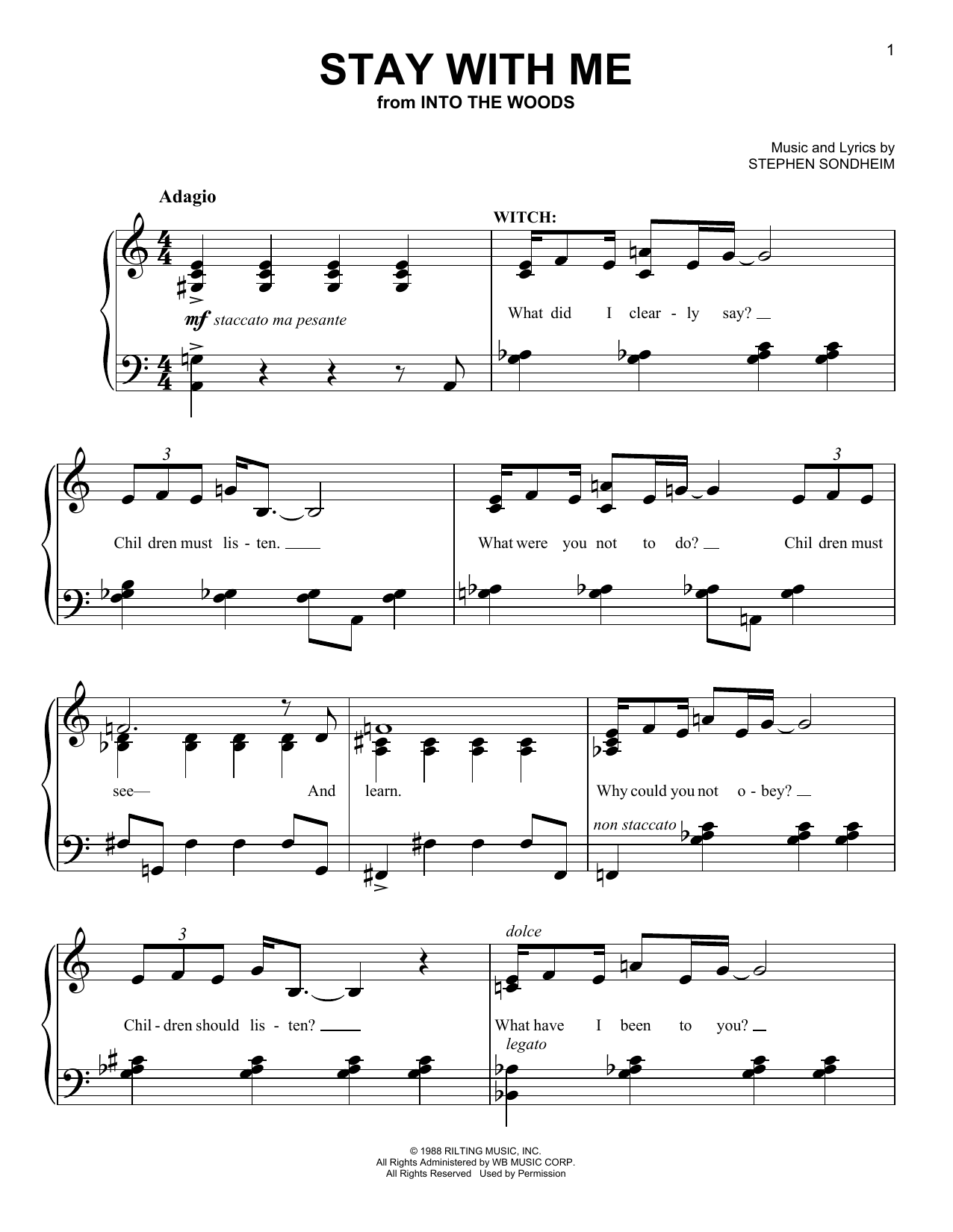 Partition piano Stay With Me (from 'Into The Woods') de Stephen Sondheim - Piano Facile