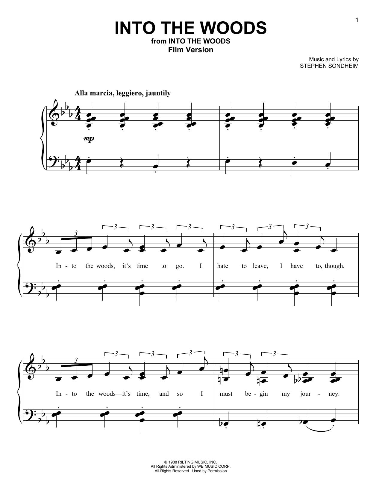 Partition piano Into The Woods (Film Version) de Stephen Sondheim - Piano Facile