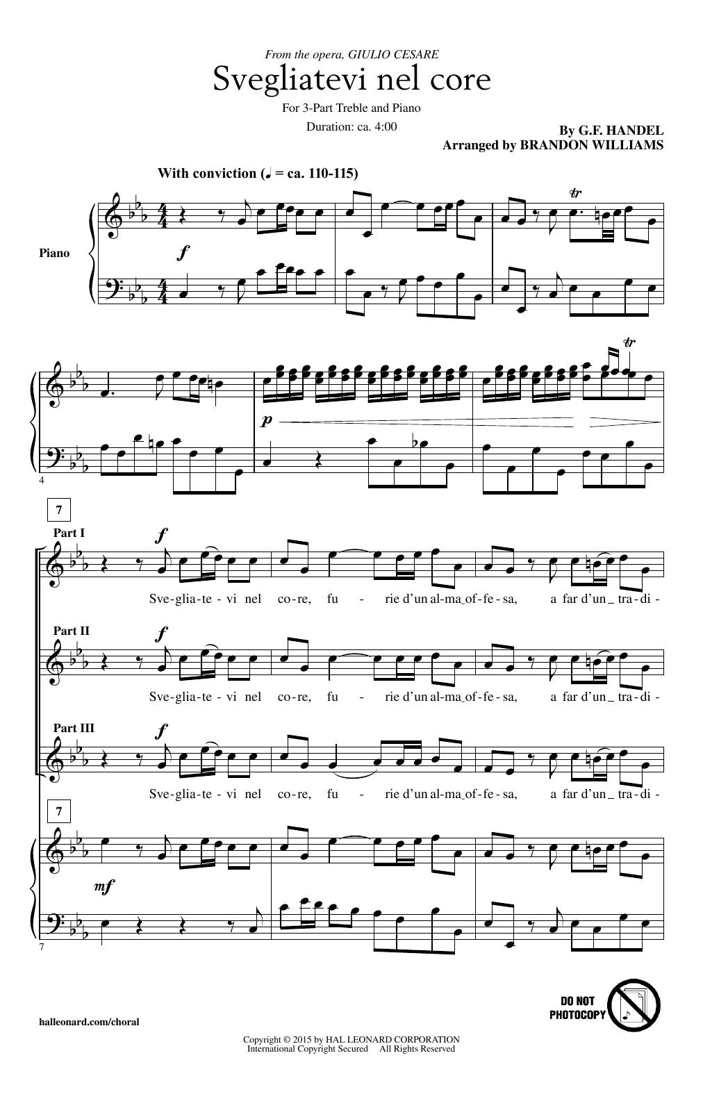 Partition chorale Svegliatevi Nel Core (arr. Brandon Williams) de George Frideric Handel - 3 voix egales