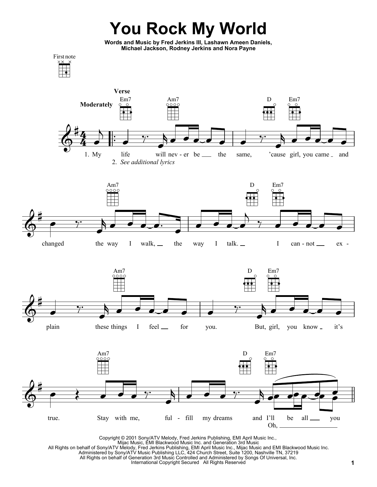 Tablature guitare You Rock My World de Michael Jackson - Ukulele