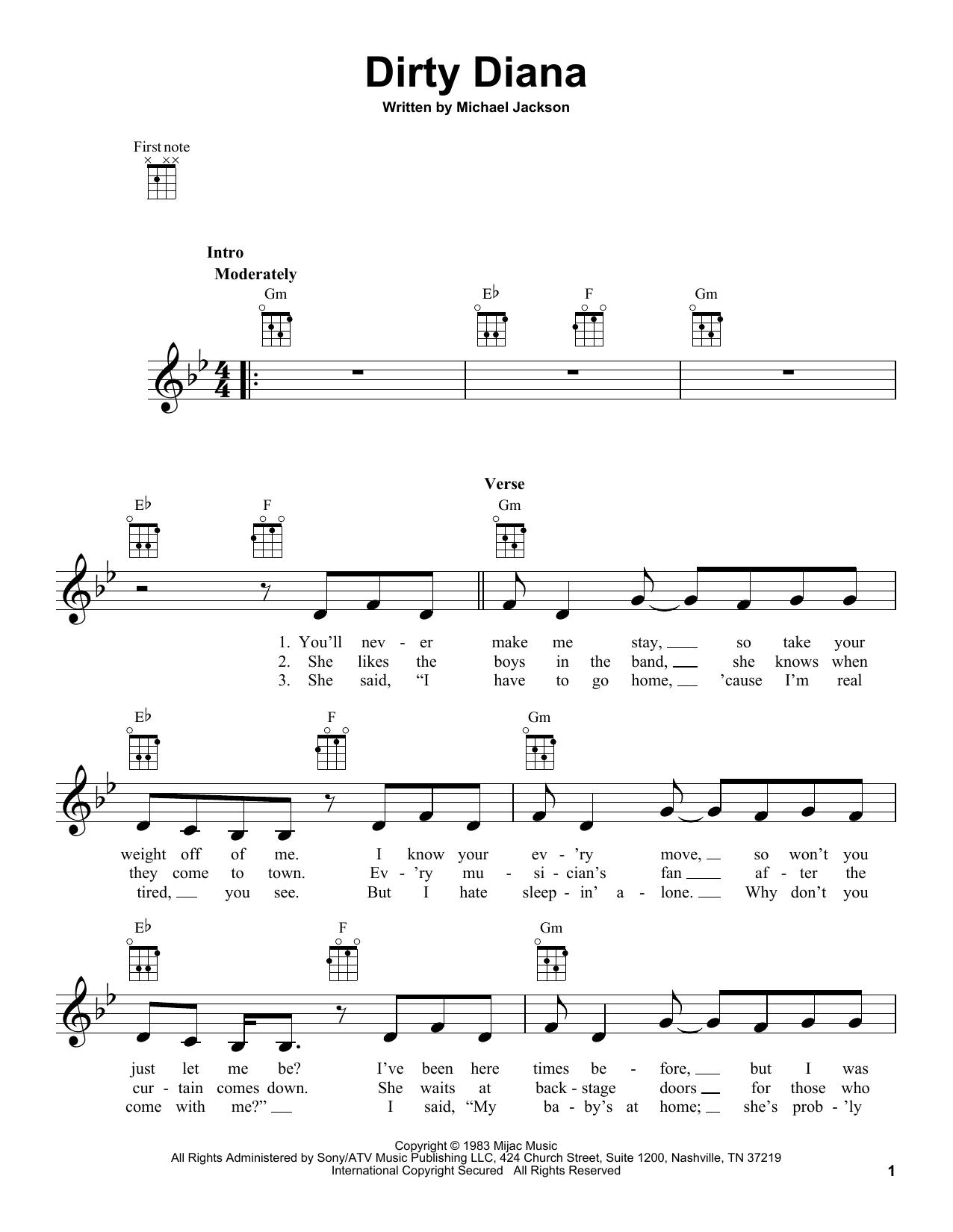 Tablature guitare Dirty Diana de Michael Jackson - Ukulele