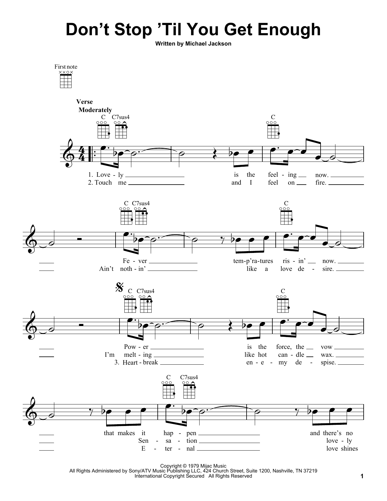Tablature guitare Don't Stop 'Til You Get Enough de Michael Jackson - Ukulele