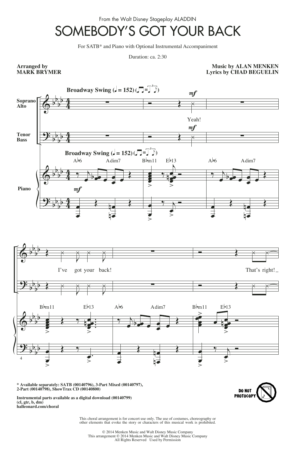 Partition chorale Somebody's Got Your Back de Alan Menken - SATB