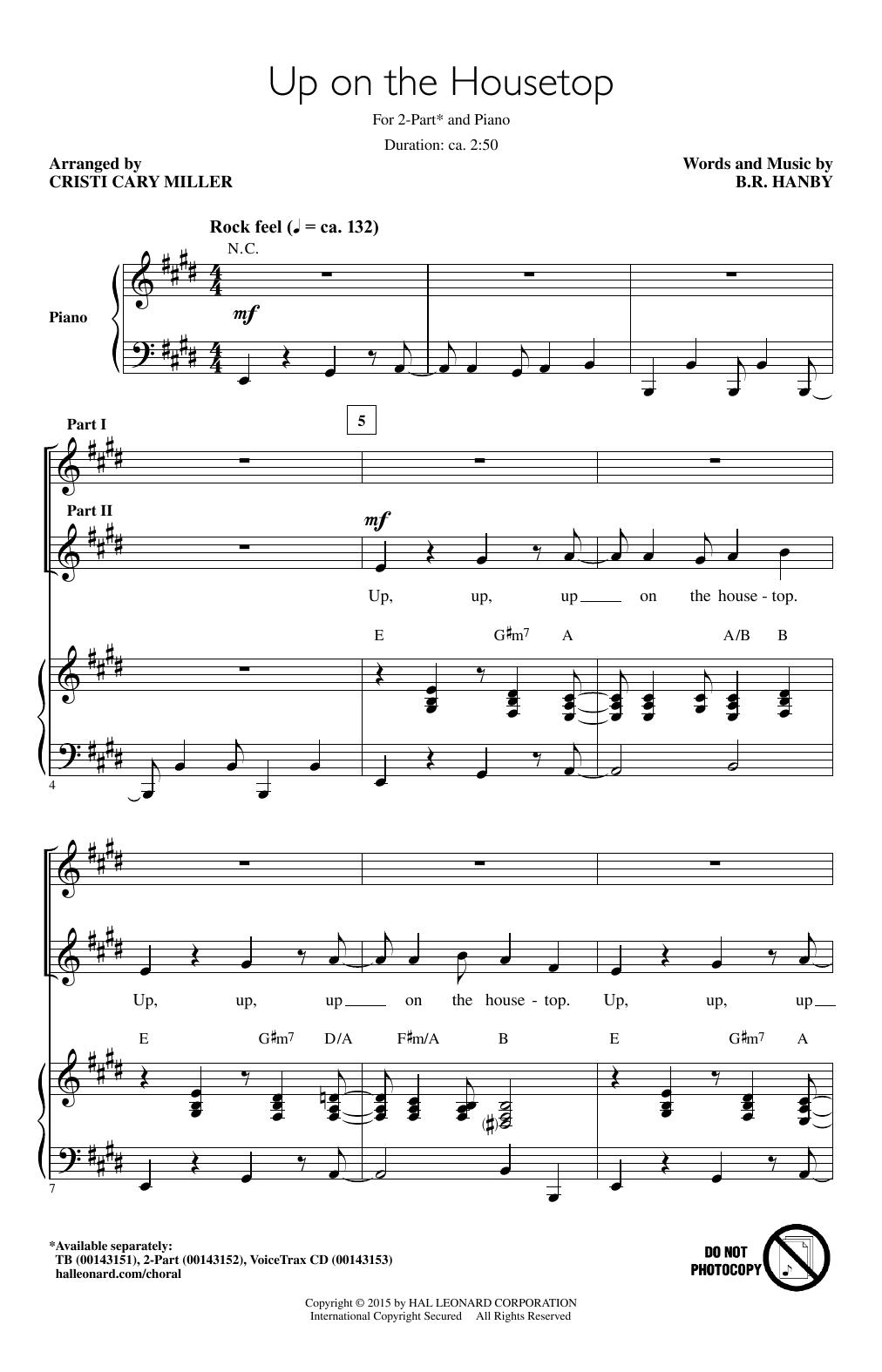 Partition chorale Up On The Housetop de B.R. Hanby - 2 voix