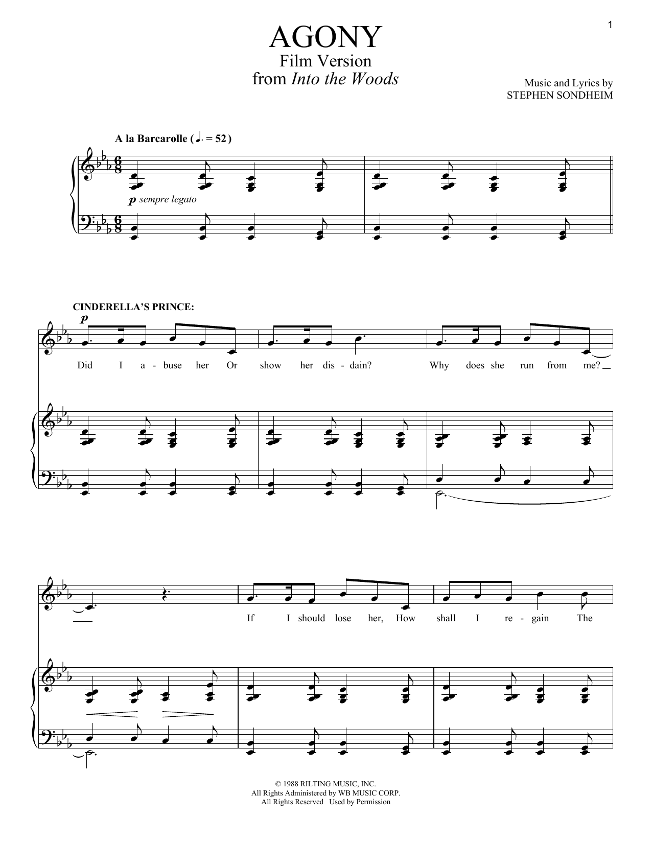 Partition piano Agony (from 'Into The Woods - Film Version') de Stephen Sondheim - Piano Voix