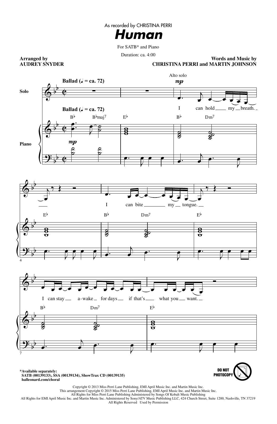 Partition chorale Human de Christina Perri - SATB