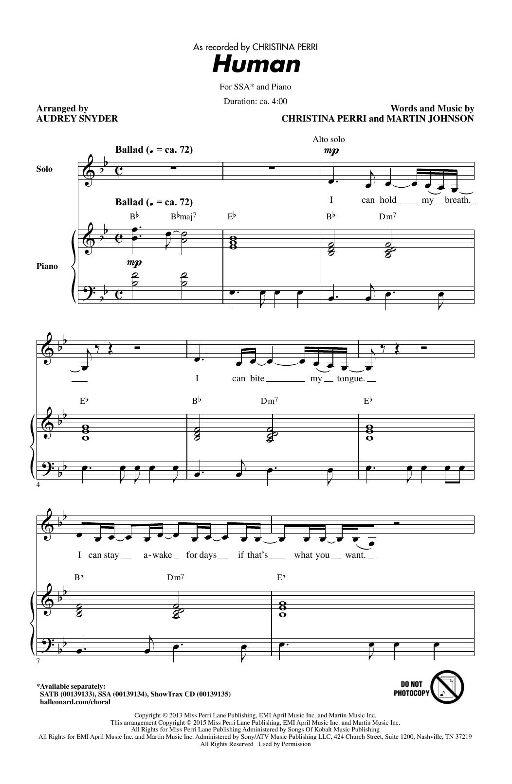 Partition chorale Human de Christina Perri - SSA