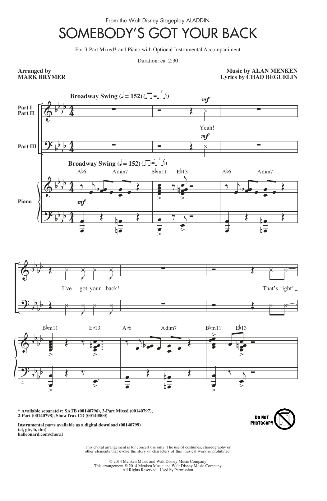 Partition chorale Somebody's Got Your Back de Alan Menken - 3 voix mixtes