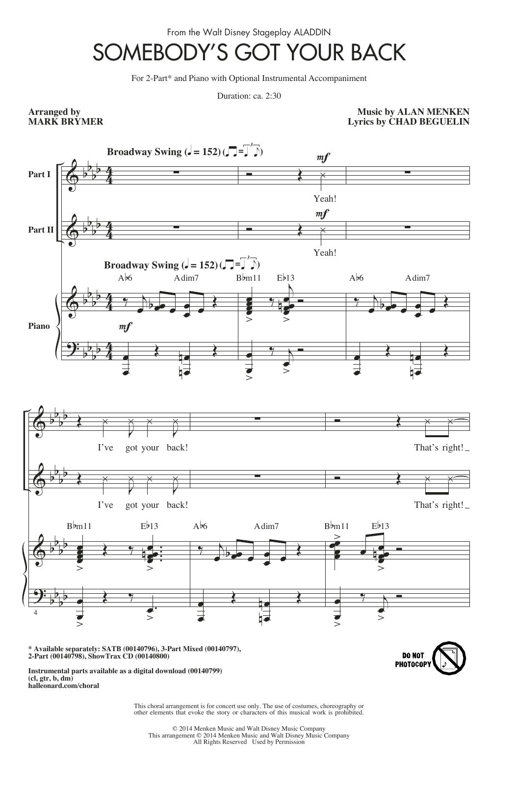 Partition chorale Somebody's Got Your Back de Alan Menken - 2 voix