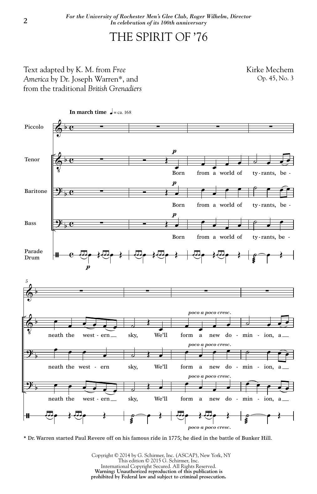 Partition chorale The Spirit of '76 de  - TBB