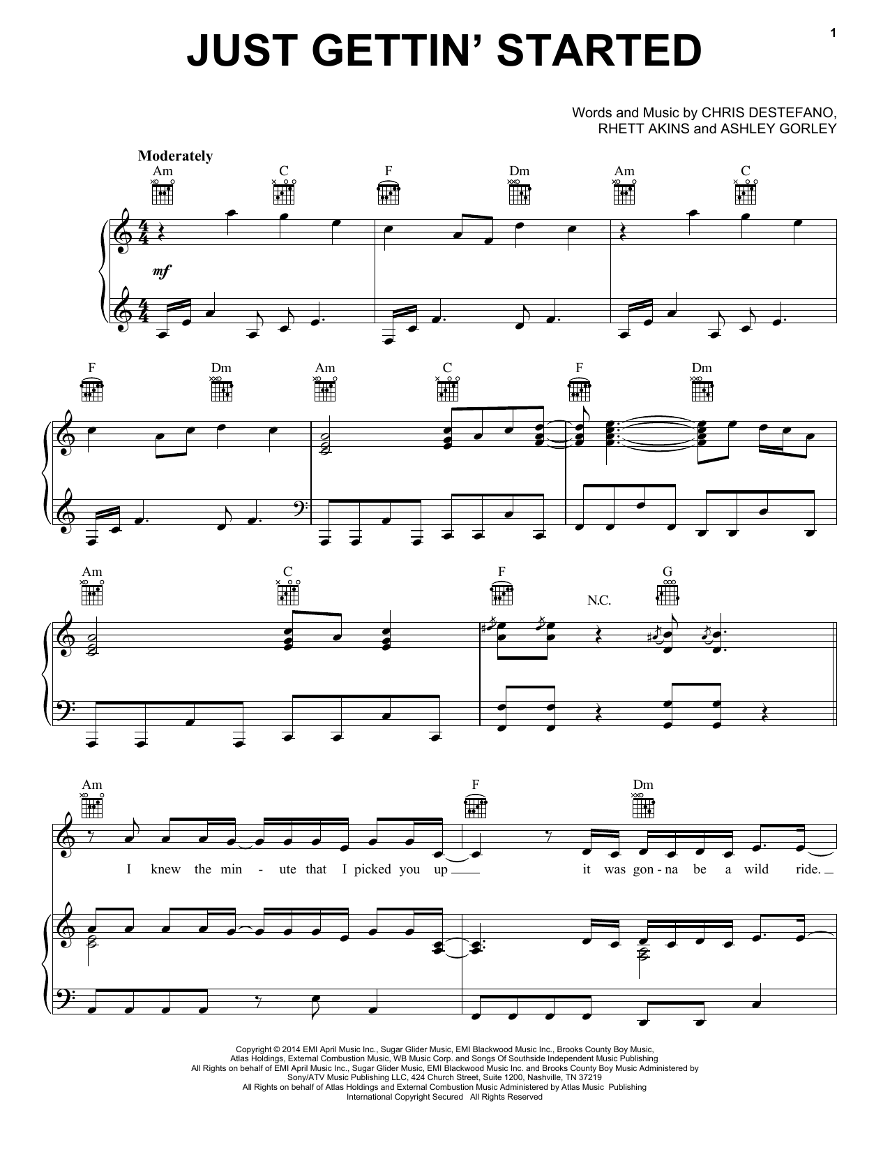 Partition piano Just Gettin' Started de Jason Aldean - Piano Voix Guitare (Mélodie Main Droite)