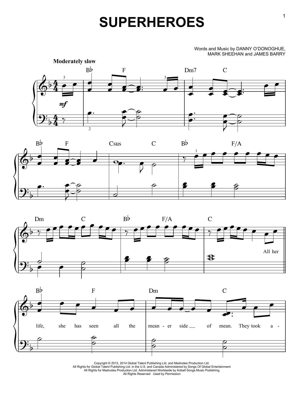 Partition piano Superheroes de The Script - Piano Facile