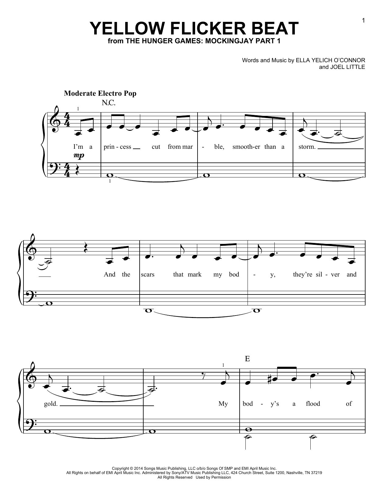 Yellow Flicker Beat sheet music for piano solo (chords) by Joel Little