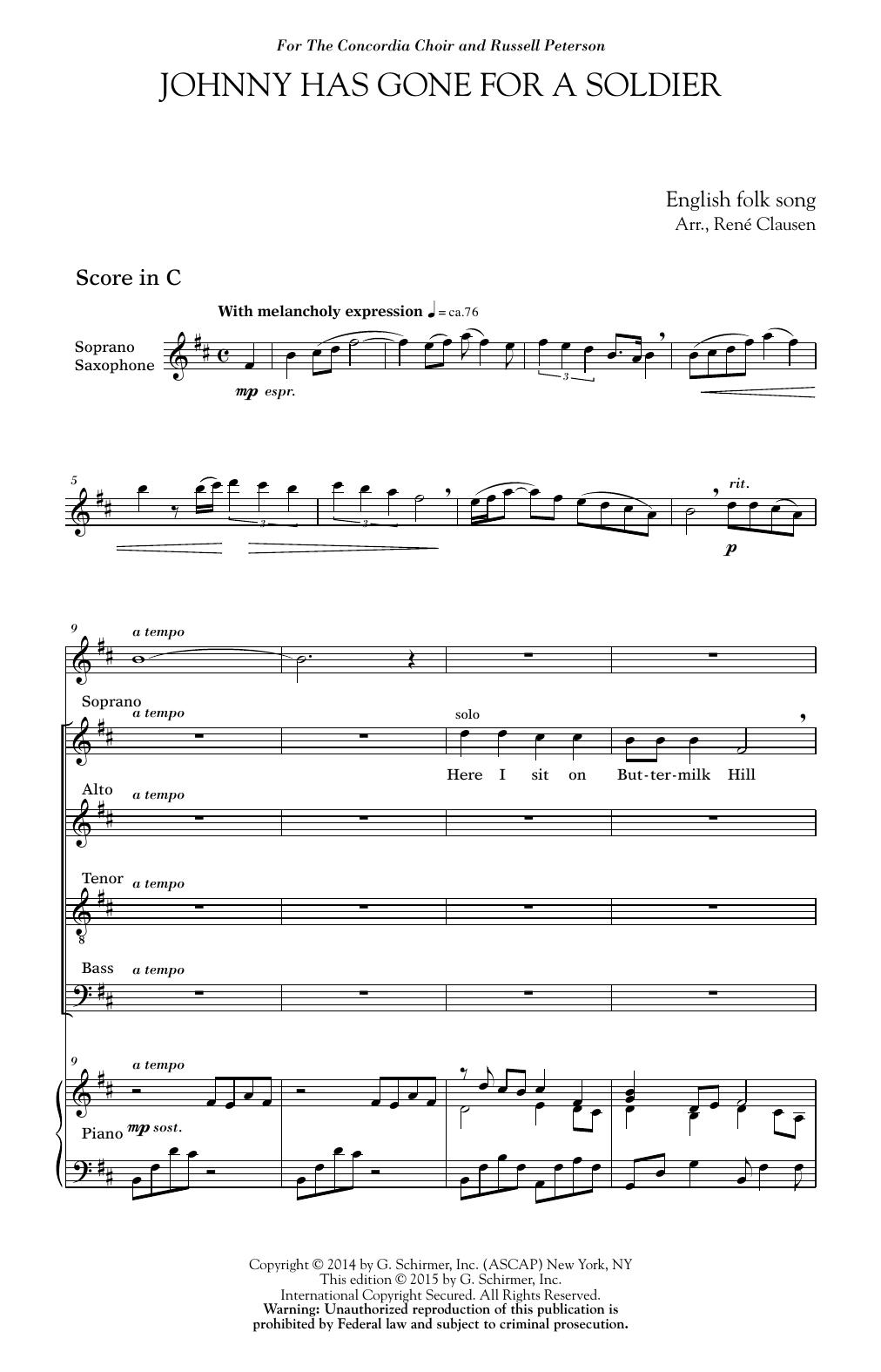 Partition chorale Johnny Has Gone For A Soldier de  - Autre
