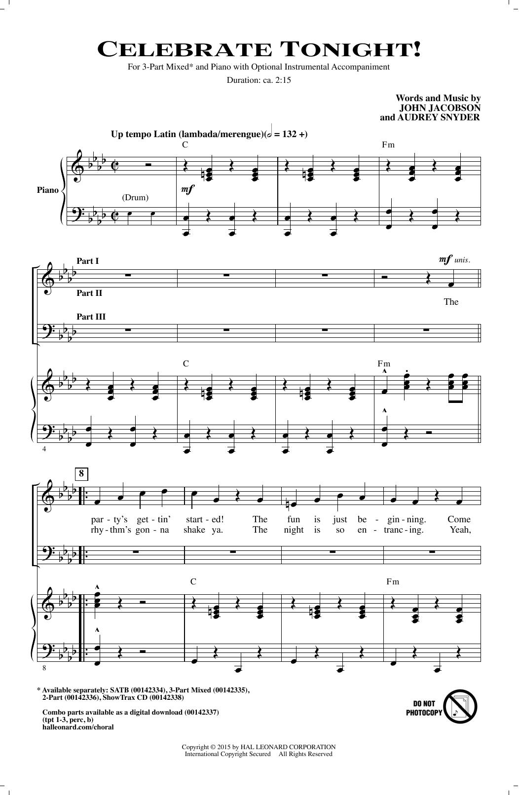 Partition chorale Celebrate Tonight! de John Jacobson - 3 voix mixtes
