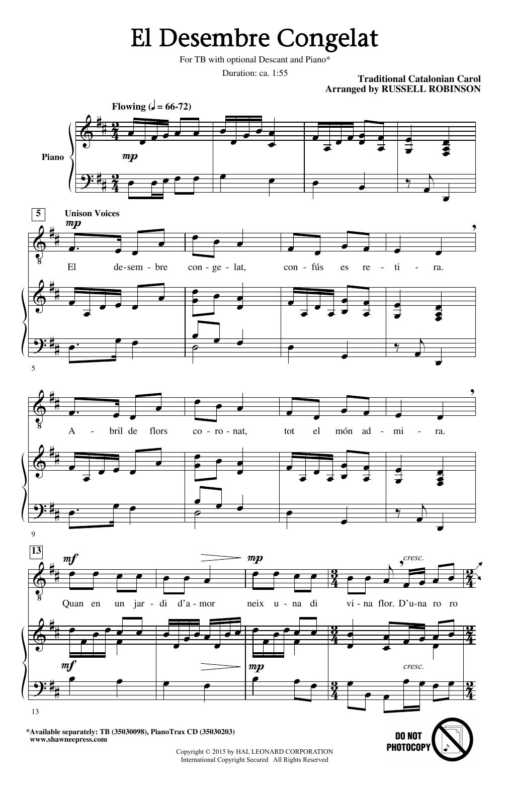 Partition chorale El Desembre Congelat de Russell Robinson - TB