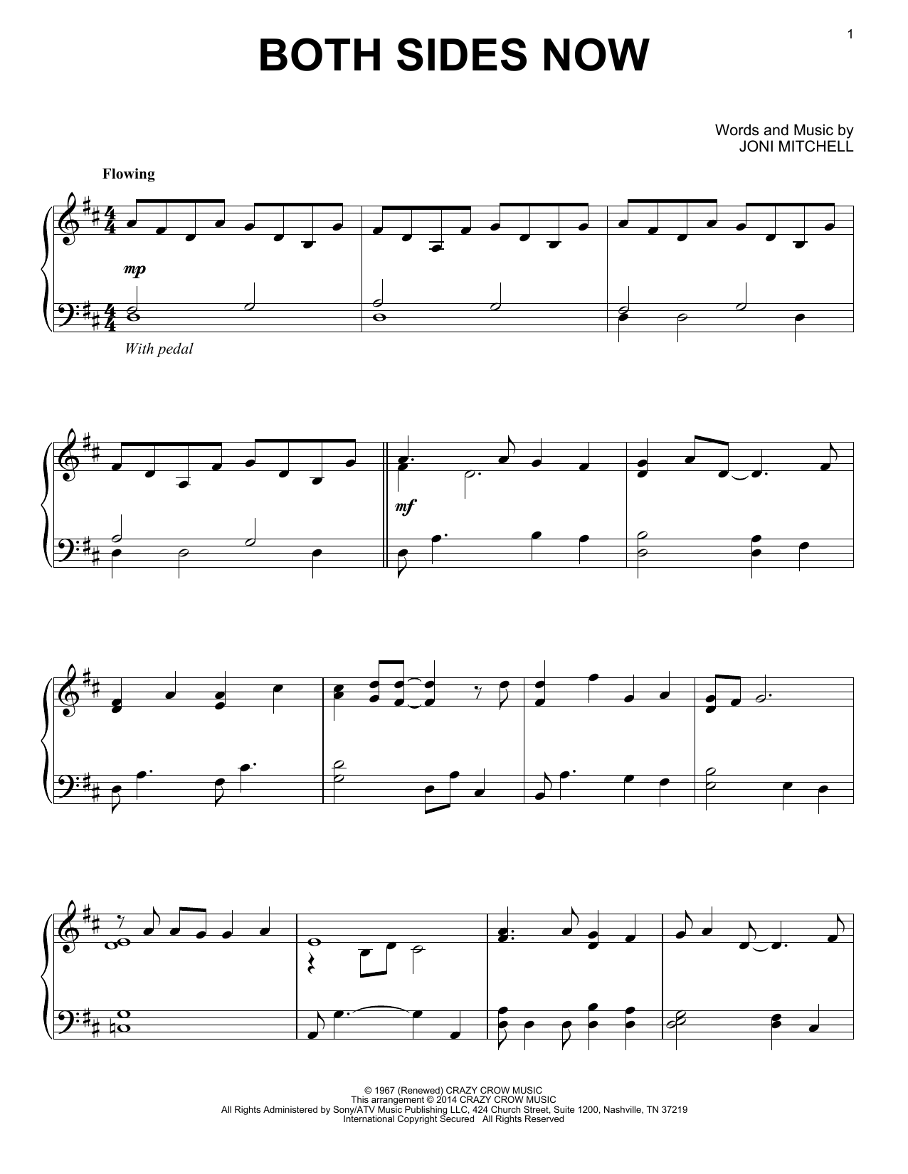 Partition piano Both Sides Now de Judy Collins - Piano Solo