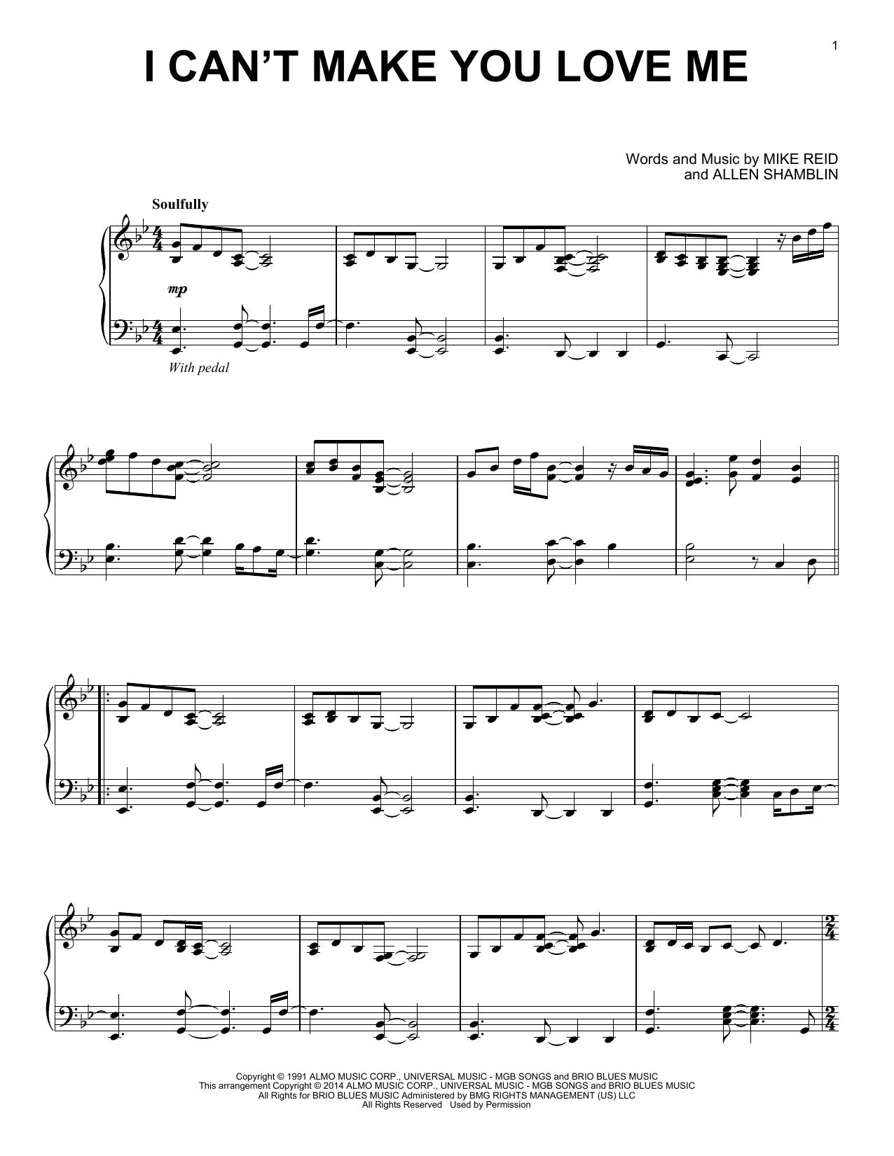 Partition piano I Can't Make You Love Me de Bonnie Raitt - Piano Solo
