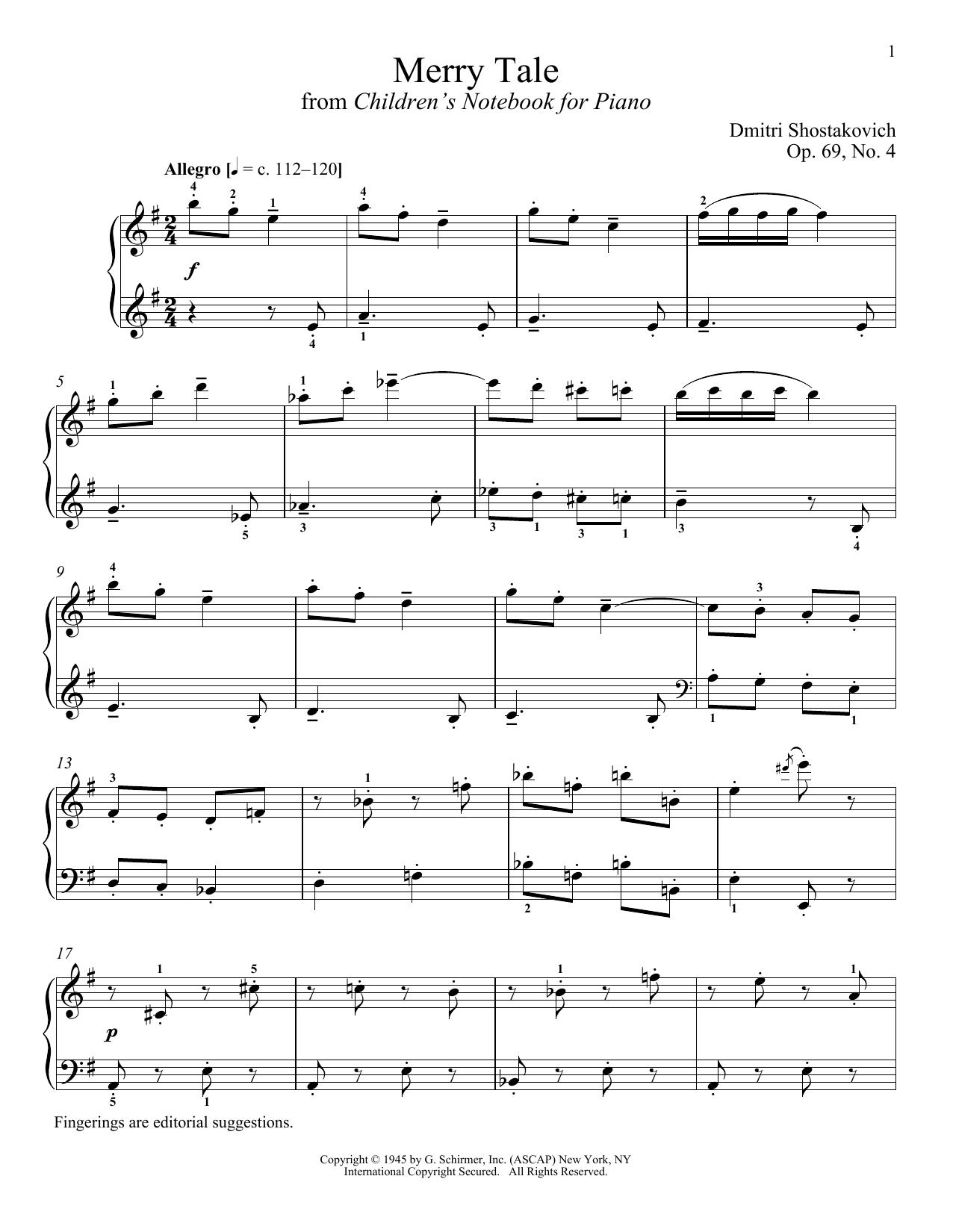 Partition piano Merry Tale de Dmitri Shostakovich - Piano Solo