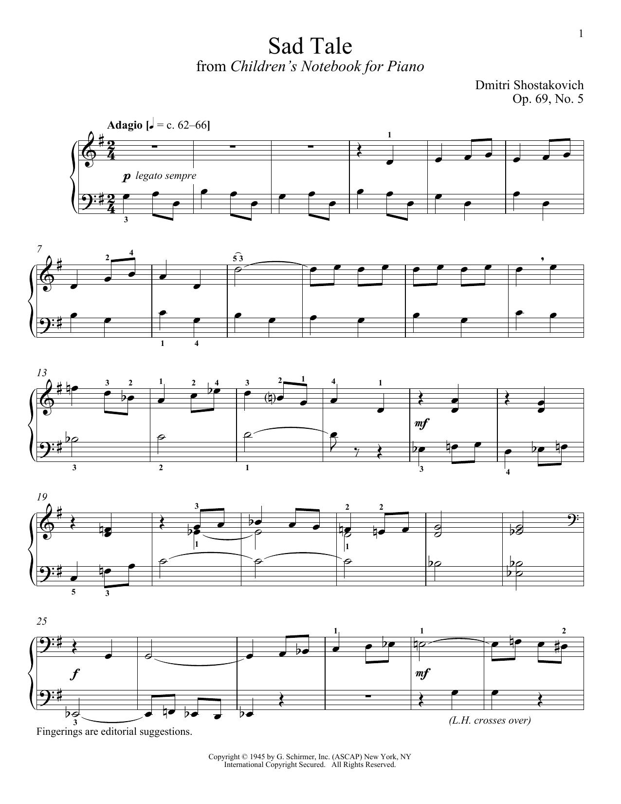 Partition piano Sad Tale de Dmitri Shostakovich - Piano Solo
