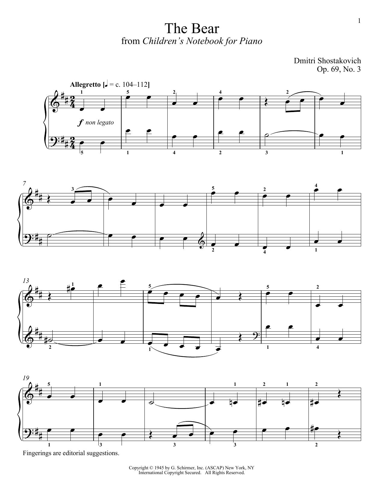 Partition piano The Bear de Dmitri Shostakovich - Piano Solo