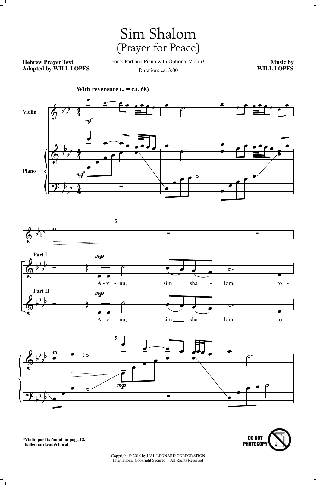 Partition chorale Sim Shalom de  - 2 voix