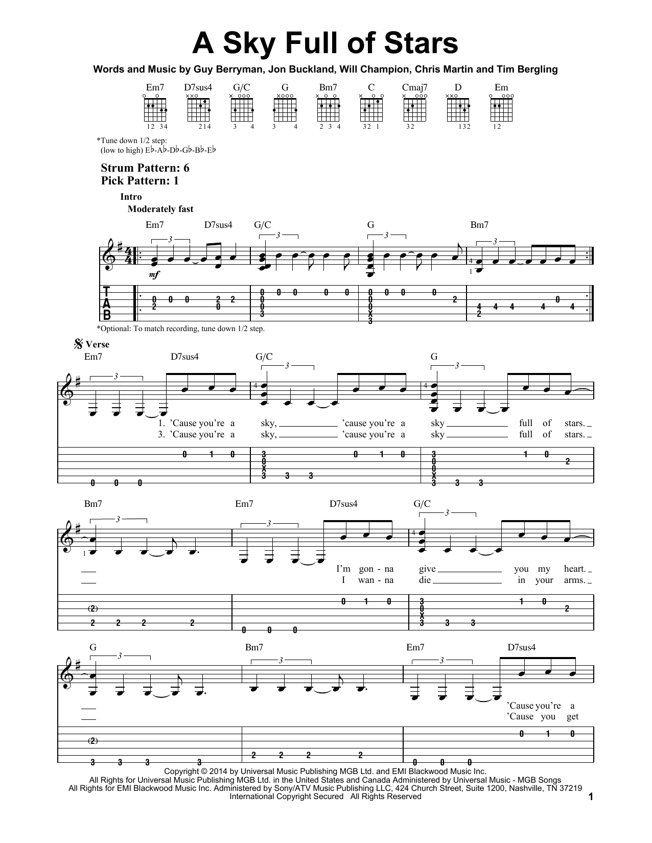 Tablature guitare A Sky Full Of Stars de Coldplay - Tablature guitare facile