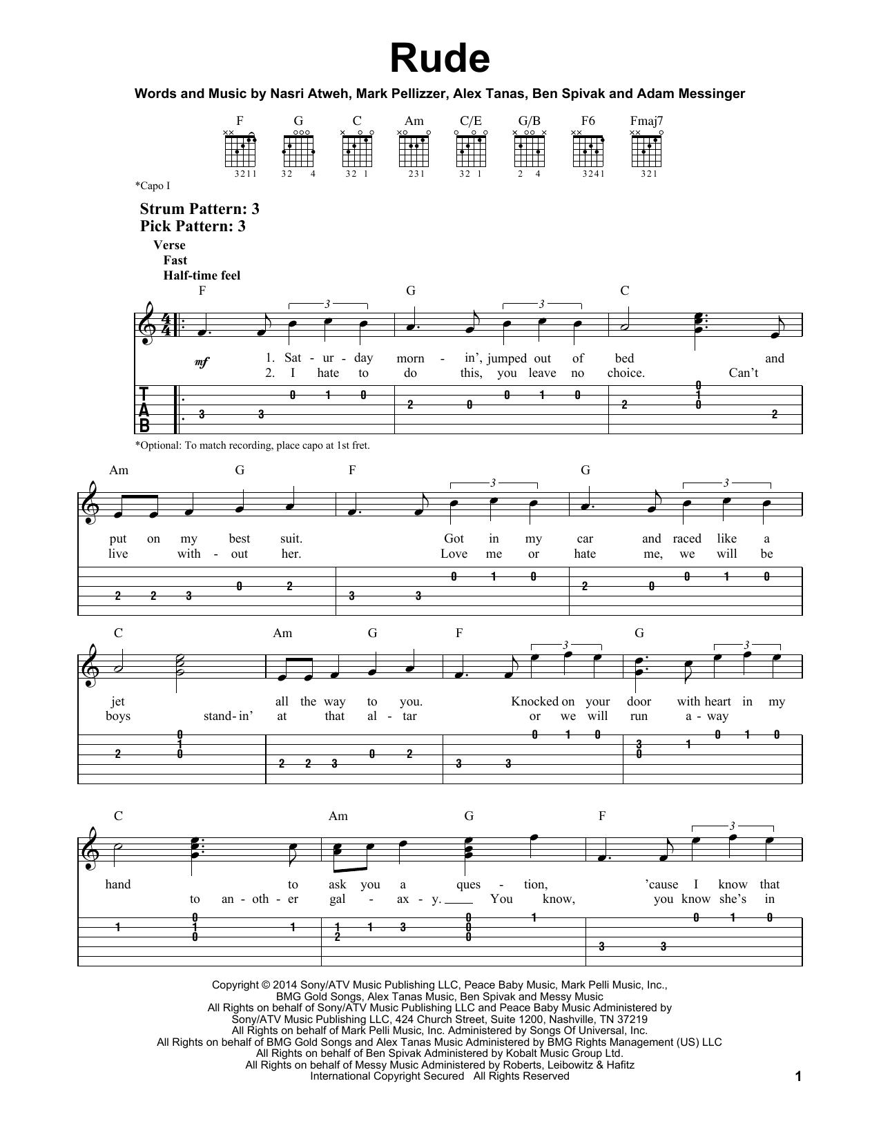 Tablature guitare Rude de MAGIC! - Tablature guitare facile
