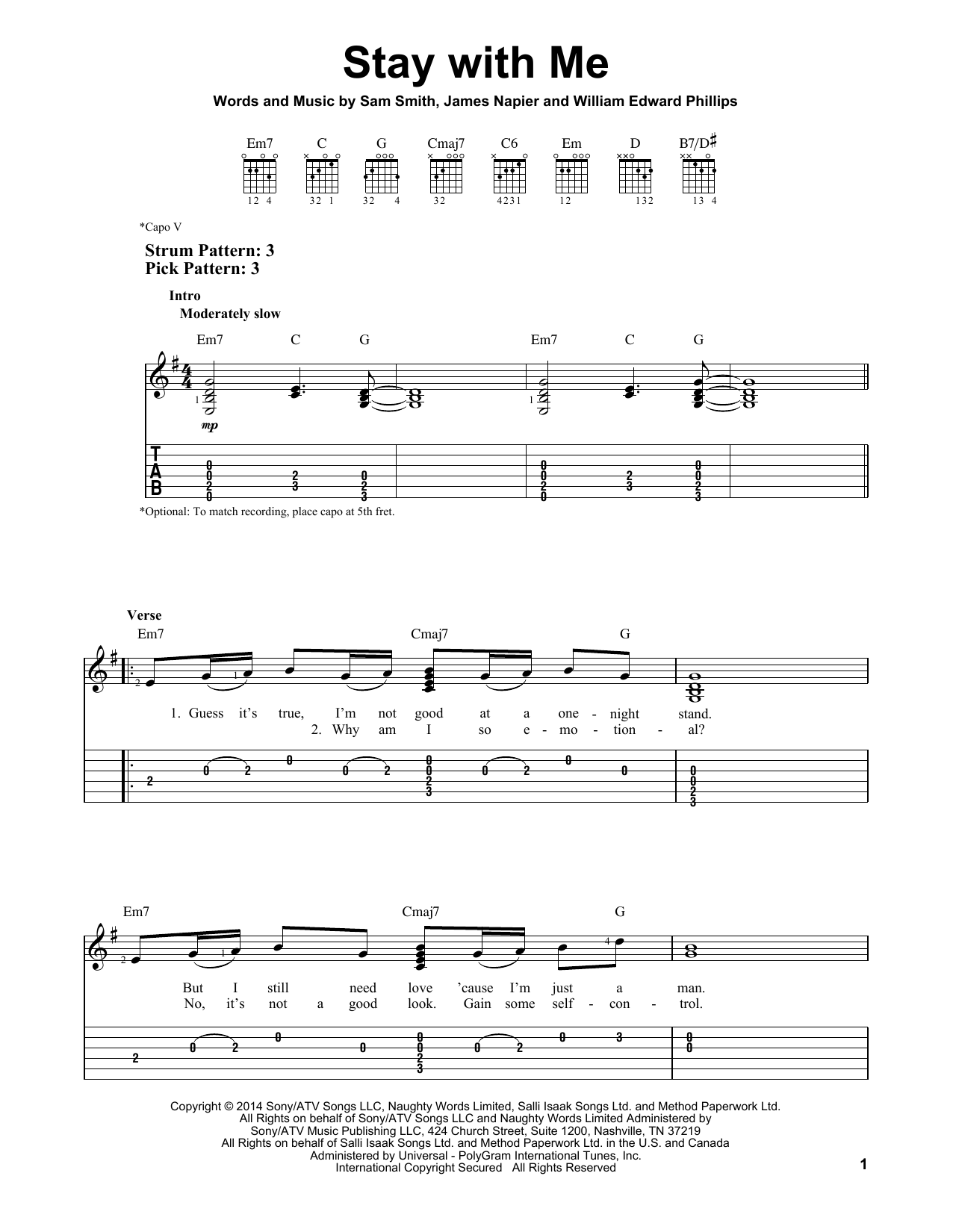 Stay With Me sheet music by Sam Smith (Easy Guitar Tab u2013 157947)