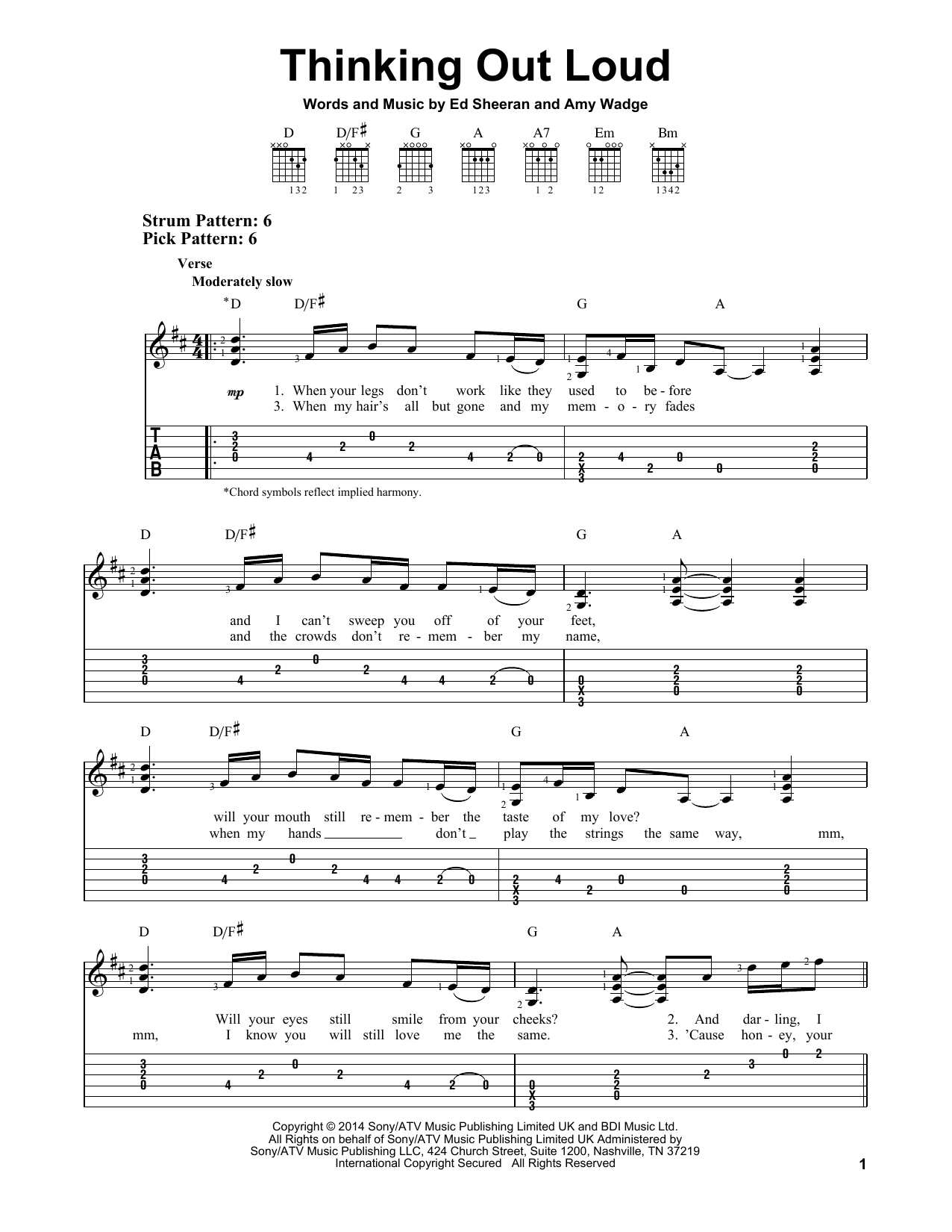 Thinking Out Loud sheet music by Ed Sheeran (Easy Guitar Tab u2013 157931)