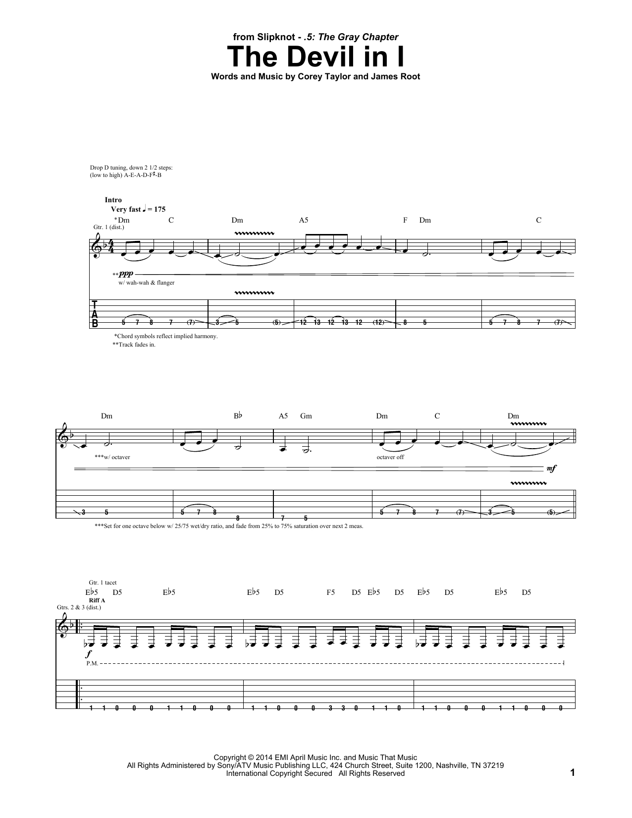 Tablature guitare The Devil In I de Slipknot - Tablature Guitare
