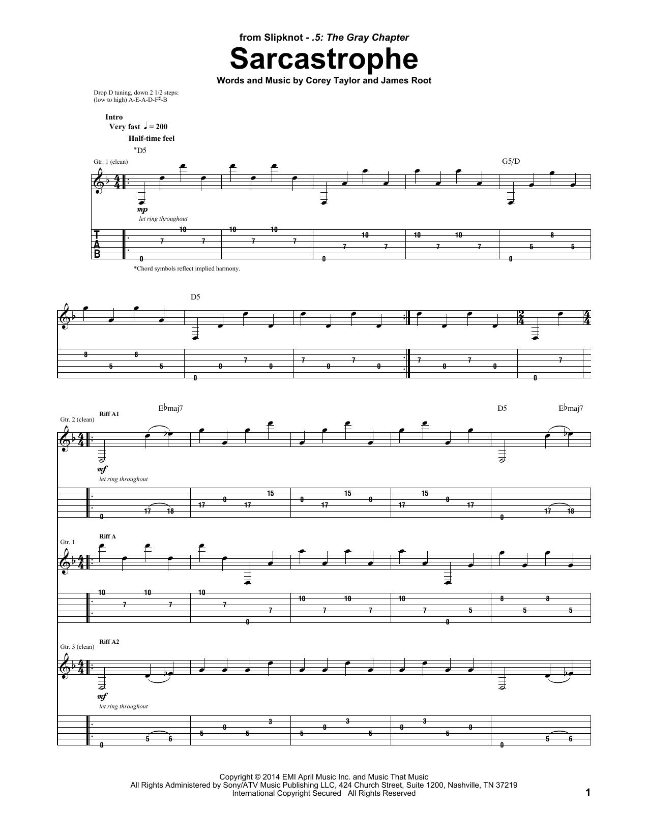Tablature guitare Sarcastrophe de Slipknot - Tablature Guitare