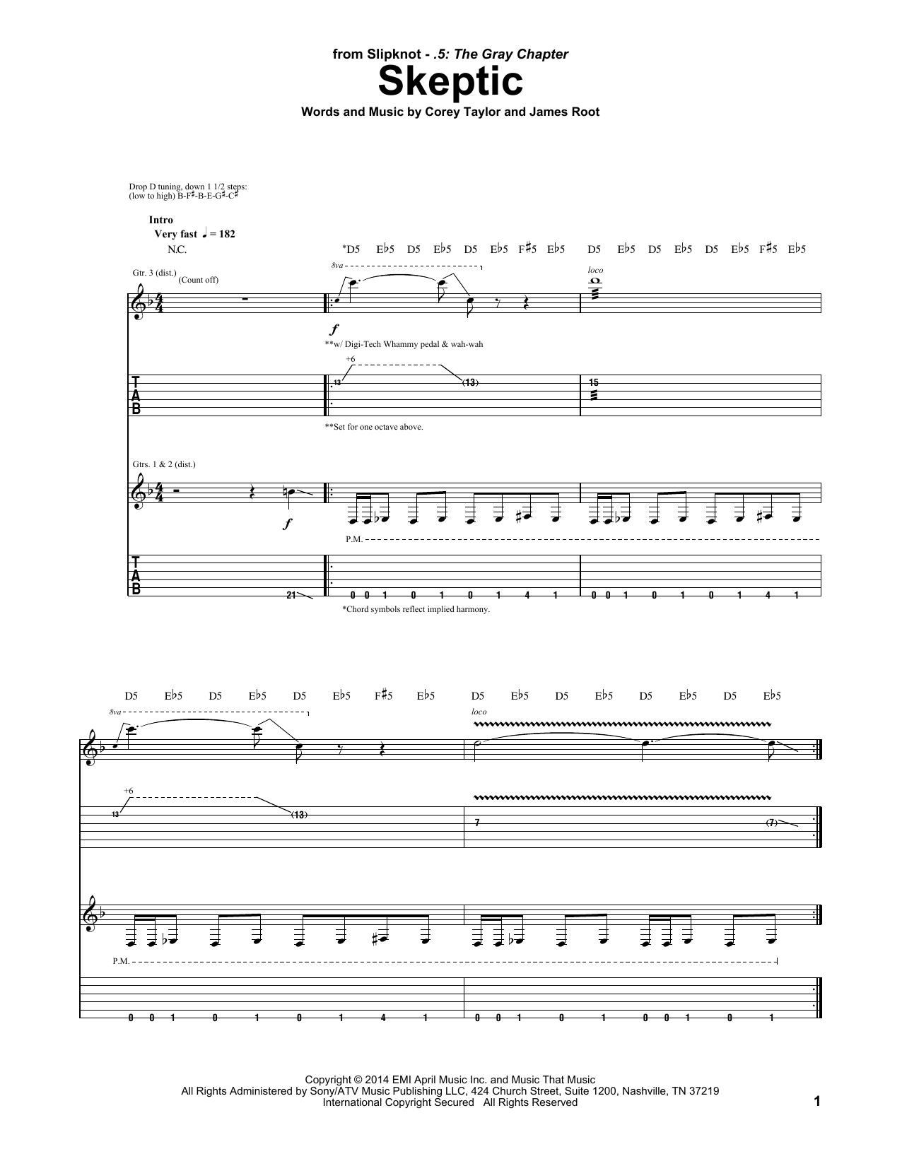 Tablature guitare Skeptic de Slipknot - Tablature Guitare